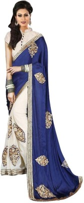 Kmozi Embriodered Fashion Silk, Georgette Sari