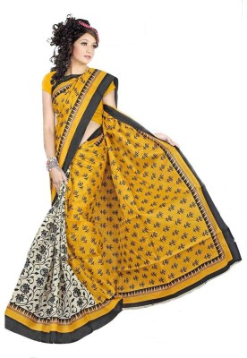 Festivemall Printed Bhagalpuri Silk Sari