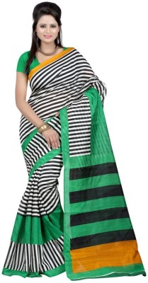 Softdeal Striped Bhagalpuri Printed Silk Sari