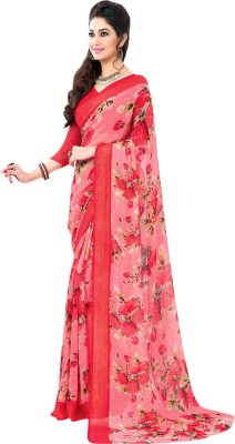 Vachi Floral Print Fashion Synthetic Georgette Sari
