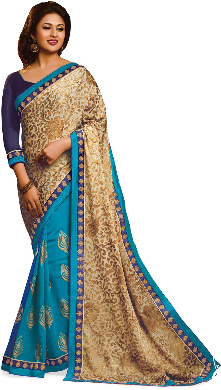 Indianbeauty Self Design, Printed Bollywood Jacquard, Pure Georgette Saree(Beige, Light Blue)
