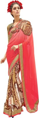Bharti Prints Floral Print Fashion Satin Sari