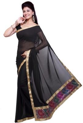 Swaman Plain Fashion Synthetic Crepe Sari