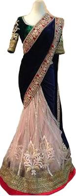 Isha Enterprise Embriodered Bollywood Velvet Sari