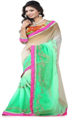 STYLO SAREES Embriodered Bollywood Chiffon Sari