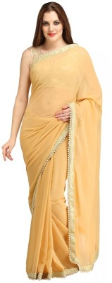 Bhuwal Fashion Self Design Fashion Chiffon Sari(Beige)