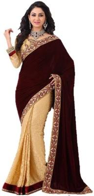 Om Shantam Sarees Floral Print, Self Design Bollywood Velvet, Brasso Sari