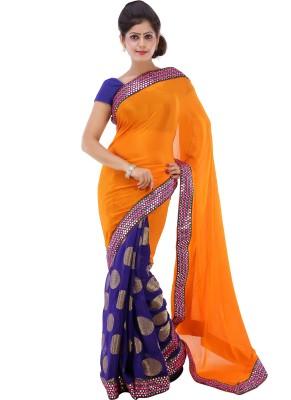 Lado Fashion Square Embriodered Fashion Georgette Sari