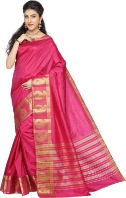 Rani Saahiba Woven Fashion Tussar Silk Sari(Pink)