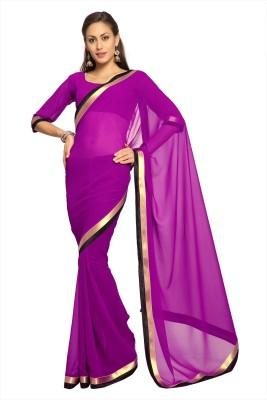 Designersareez Solid Fashion Georgette Sari
