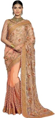 Kmozi Self Design, Embriodered Fashion Chiffon, Net Sari