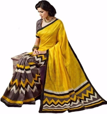 Reliant Group Printed Bhagalpuri Handloom Art Silk Sari