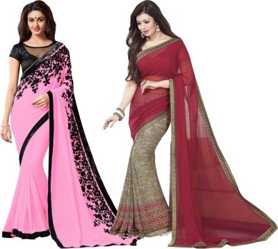 Angel Creation Solid Fashion Georgette Sari