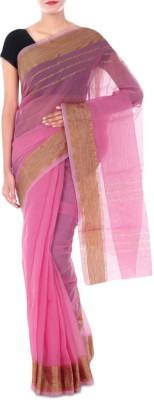 Paradise Fashion Plain Banarasi Handloom Cotton Linen Blend Sari