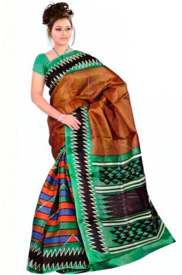 Sarees House Printed Bhagalpuri Silk Cotton Blend Sari