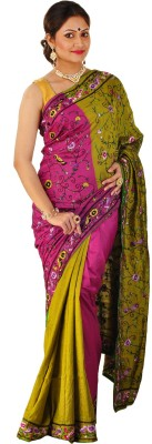 ZOBHITA Animal Print, Embriodered, Floral Print, Solid, Woven Bollywood Handloom Pure Silk Sari