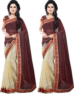 SNV Fashion Embriodered, Embellished Fashion Lycra, Net, Lycra, Net Sari
