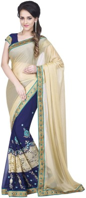 Dharmee Creations Embriodered Fashion Chiffon, Lycra Sari