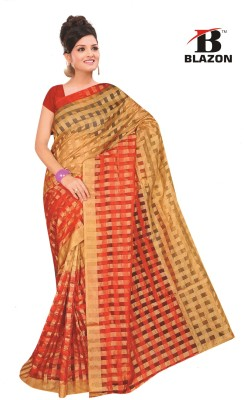 Blazon Checkered Bollywood Cotton, Silk Sari