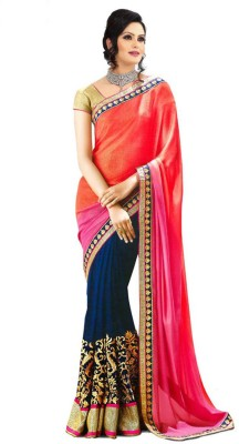 Shree Hans Creation Floral Print, Plain Daily Wear Crepe Sari