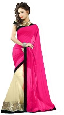 Hitesh Enterprise Solid Bollywood Georgette, Net Sari