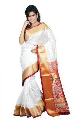 Aruna Fashions Self Design Paithani Pure Silk Saree(White, Maroon) at flipkart