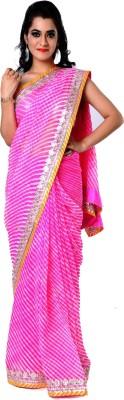 Ranas Self Design Leheria Pure Georgette Sari