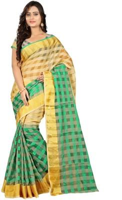 Sathiya Print Checkered Fashion Art Silk Sari