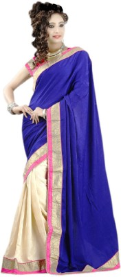 Radhe Krishna Creation Plain Fashion Georgette, Lace Sari