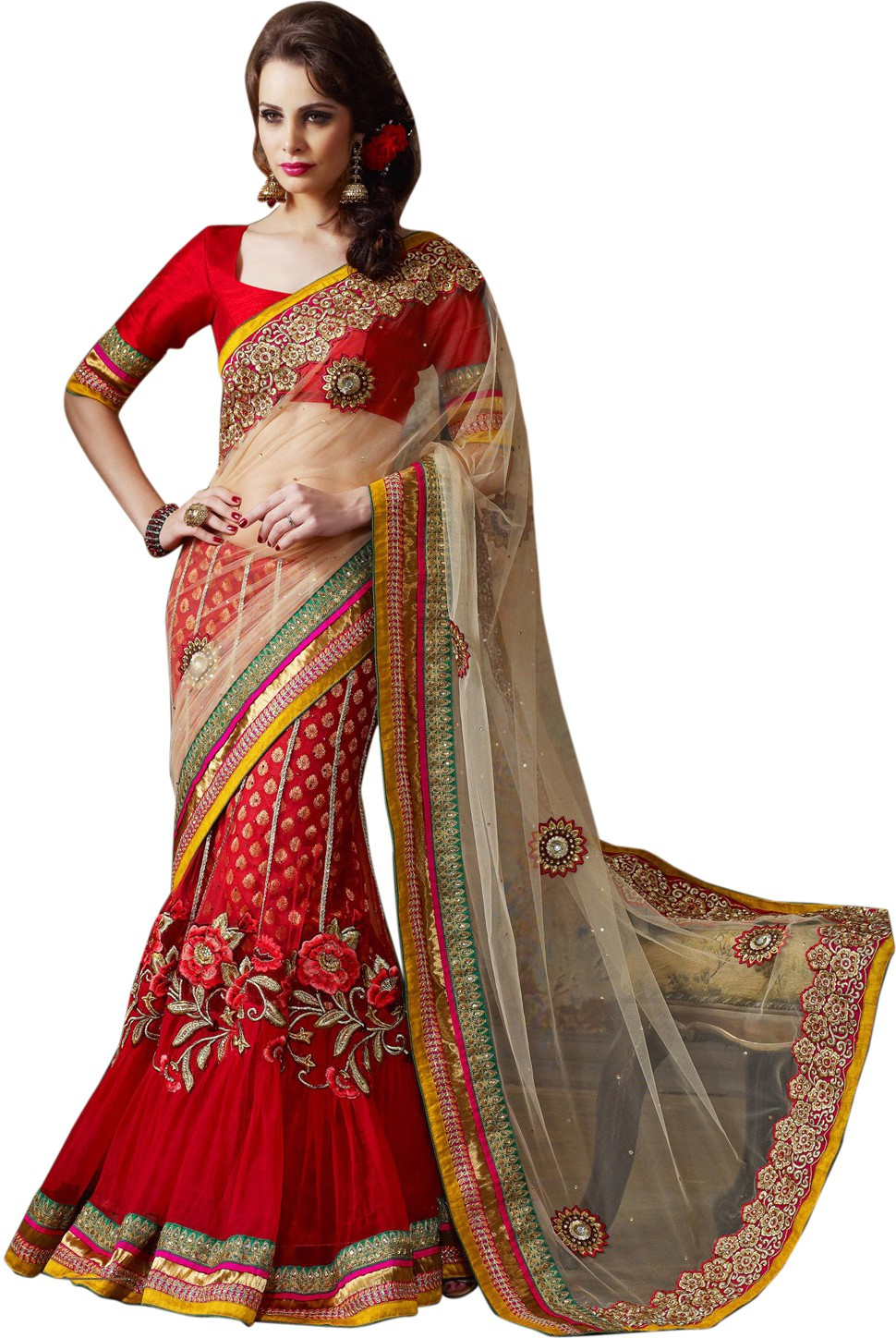 SurvauttamFashion Embriodered Fashion Net Sari