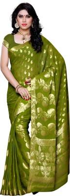 Mimosa Embellished Kanjivaram Chiffon Saree(Light Green) at flipkart