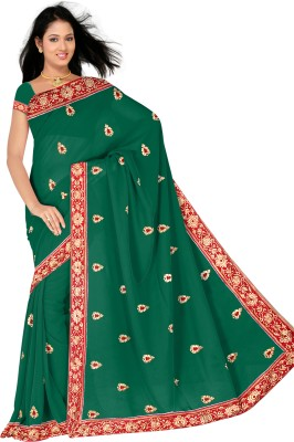 Utsava Solid Daily Wear Georgette Sari