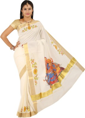 Aadrika Printed Mundum Neriyathum Cotton Sari