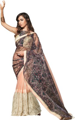 Queenbee Printed, Self Design Fashion Georgette, Brasso Sari
