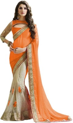 Kanha Fashionna Embriodered Bollywood Georgette, Net Sari