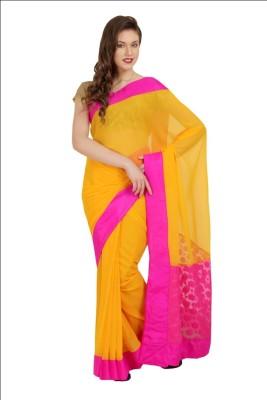 Satrang Solid Fashion Georgette Sari
