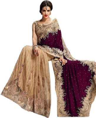 Dertaste Embriodered Fashion Net, Velvet Sari