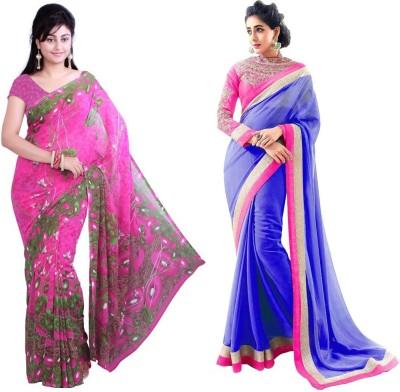 RockChin Fashions Floral Print, Embriodered Bollywood Georgette Sari