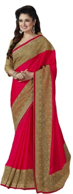 M.S.Retail Embroidered Bollywood Satin Saree(Pink) at flipkart