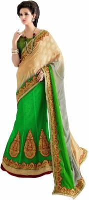 Aasvaa Self Design Lehenga Saree Jacquard Saree(Green) at flipkart