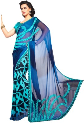 Manvaa Self Design Fashion Handloom Georgette Sari
