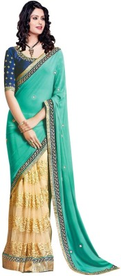 Om Fashion Embriodered Fashion Pure Georgette Sari