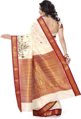 Arjuns Solid, Embriodered, Woven Kanjivaram Art Silk Sari