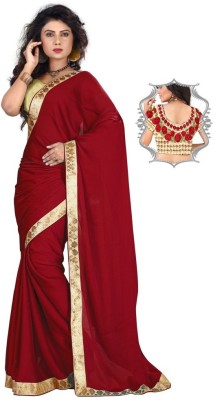 Stylezone Embriodered Fashion Satin Sari