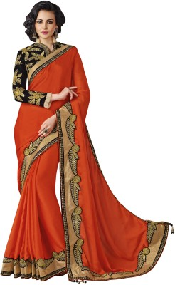 Mahotsav Embellished Bollywood Chiffon Sari(Orange) at flipkart