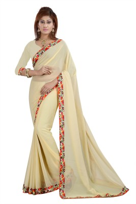 Gunjan Creation Plain Fashion Chiffon Sari