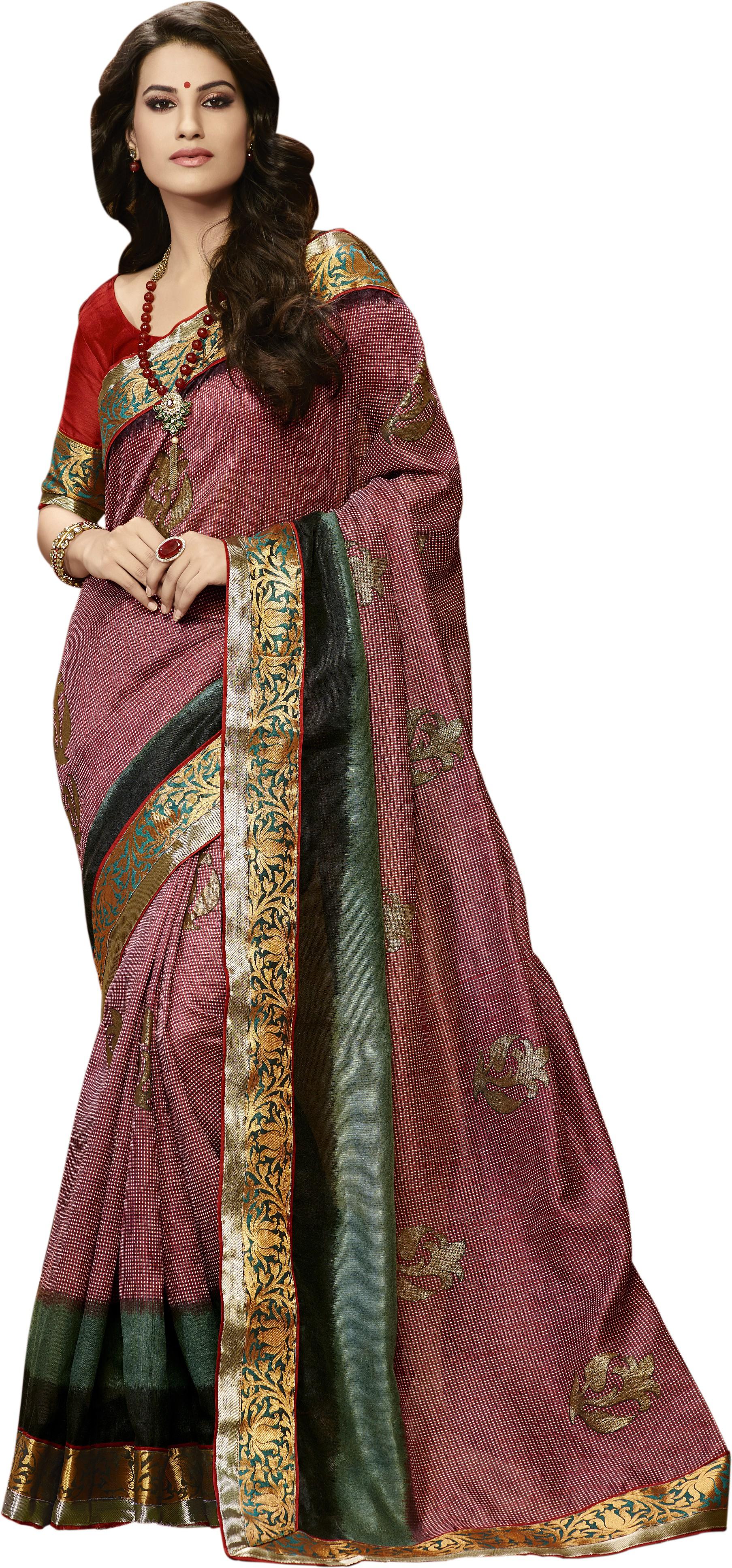 Bhavi Printed Jamdani Art Silk Sari