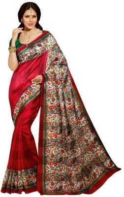 Aks Worldshop Floral Print Daily Wear Raw Silk Sari