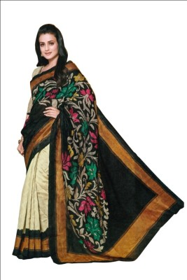 Satrang Woven Fashion Art Silk Sari(Beige) at flipkart