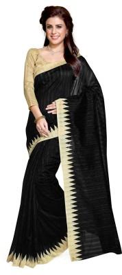 Mirchi Fashion Printed Daily Wear Art Silk Saree(Black) at flipkart